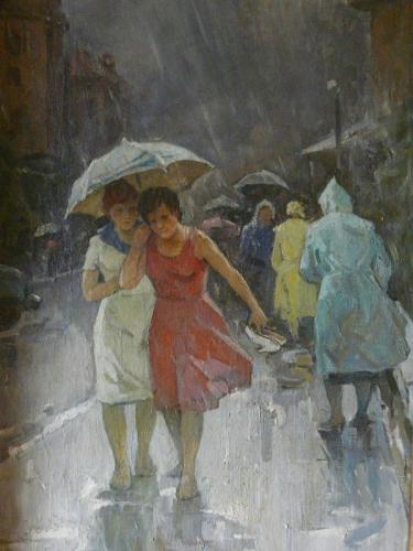 femmes, pluie, triturage de cervelle